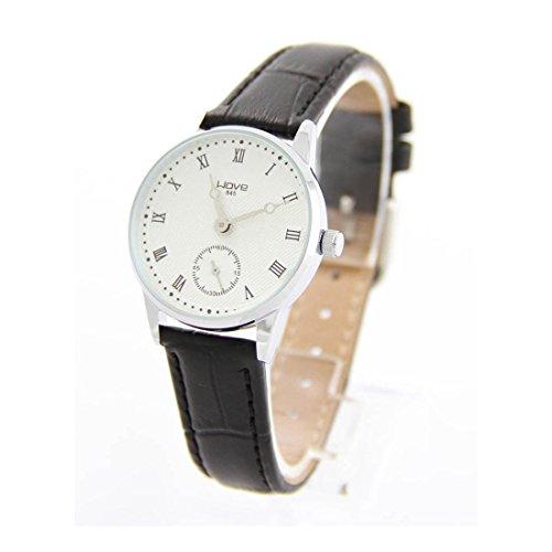 Damen Armbanduhr Leder schwarz Wave 1924