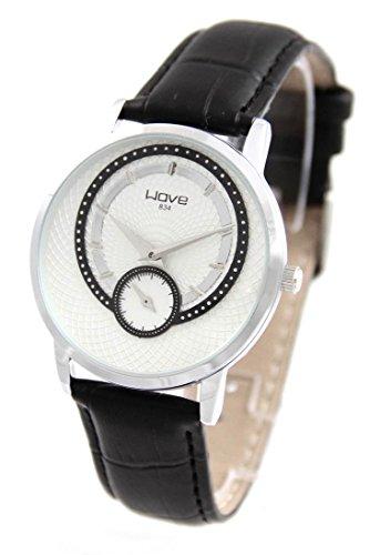 Damen Armbanduhr Leder schwarz Wave 743