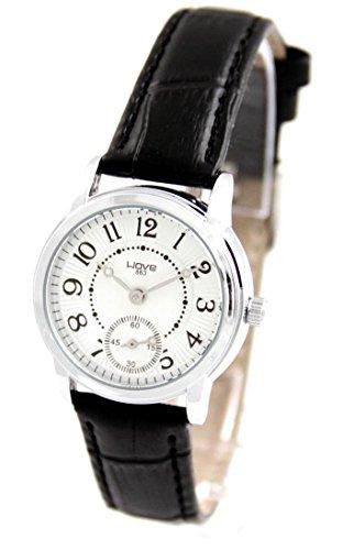 Damen Fantasie Armbanduhr Leder schwarz Wave 695