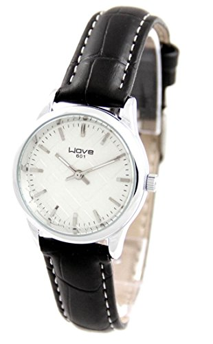 Damen Fashion Armbanduhr Leder schwarz Wave 2477