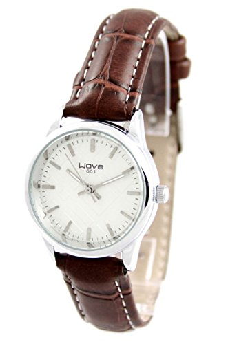 Damen Simple Armbanduhr Leder braun Wave 2468