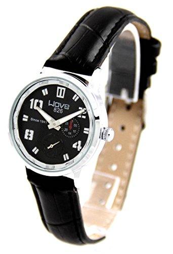Damen Uhr mit Leder schwarz Wave 660