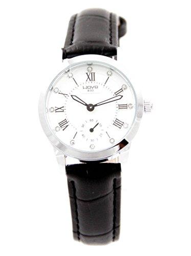 Damen Originelle Armbanduhr Leder schwarz Diamanten CZ Wave 2041