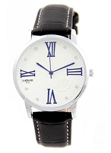 Zeigt Damen Armband Leder schwarz Diamanten CZ Wave 2317