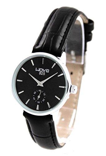 Zeigt Damen Leder Farbe schwarz Wave 168
