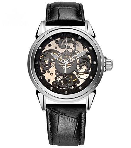 timelyo Damen Automatik Armband Leder Replica Luxe MECANIQUE schwarz