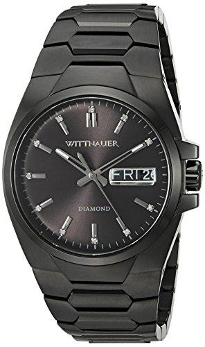 Wittnauer Herren Schwarz Stahl Armband und Fall Quarz analoge Uhr wn3046
