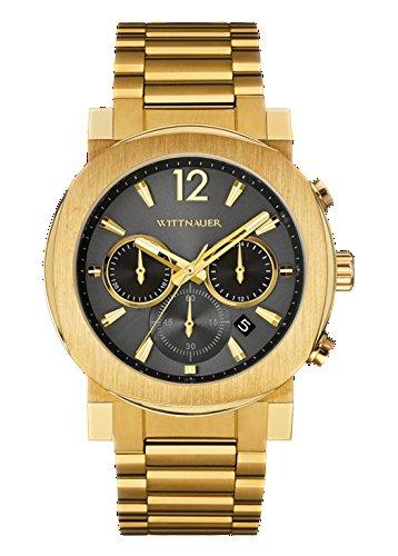 Wittnauer wn3006 Unisex Spannungsfreie Stahl Gold Band Grau Zifferblatt Armbanduhr