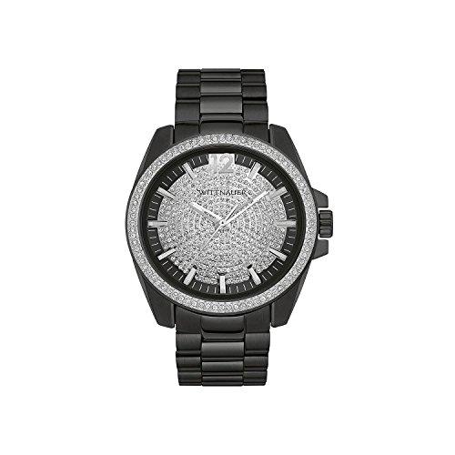 Wittnauer wn3057 Herren Spannungsfreie Stahl Armband Schwarz Band black pearl Zifferblatt Armbanduhr
