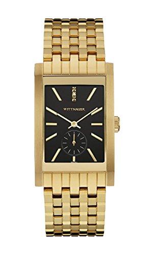 Wittnauer wn3058 Herren Spannungsfreie Stahl Gold Armband Band schwarzem Zifferblatt Square Armbanduhr