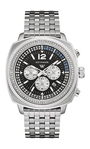 Wittnauer wn3061 Herren Spannungsfreie Stahl Silber Band Blau Ton weiss schwarz Zifferblatt Armbanduhr