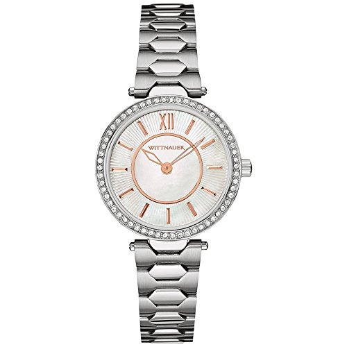 Wittnauer wn4019 Damen Edelstahl Silber Armband Perle Zifferblatt Armbanduhr