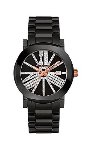 Wittnauer wn4070 schwarz Keramik Kristall Pave Einstellrad