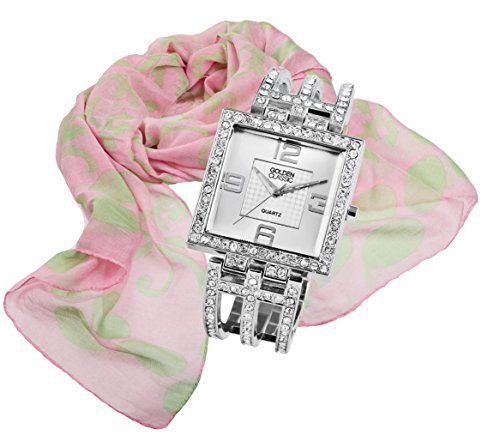 Damenuhr und Tuch glamouroeses elegantes Geschenk Set Armbanduhr mit Strass Crystal Besatz Damenschal Halstuch im Lilienblueten Dessin