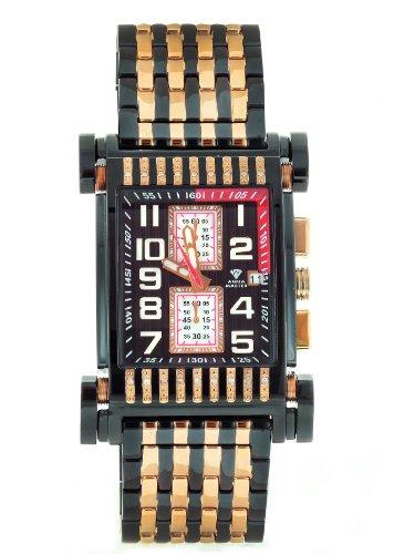 Aqua Master Herren Casino Serie dual color Rose black pvd Edelstahl Armbanduhr Set mit 18 Diamanten W 330