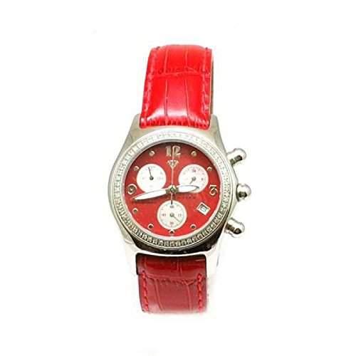 AQUA MASTER - Rote Chrono - Damenuhr mit 075 Karat Diamant mit Rotem Lederarmband