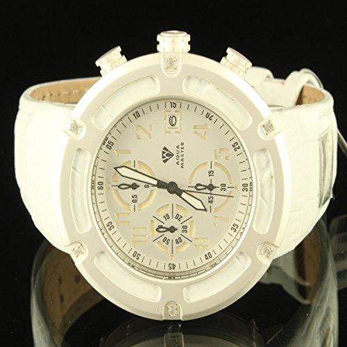 Sleek Weiss Herren epic Aqua Master Diamant Uhr 3 Zifferblatt Vater Tag Verkauf