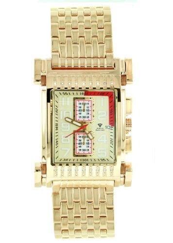 Aqua Master Herren Casino Serie gold pvd Edelstahl Armbanduhr Set mit 18 Diamanten W 330