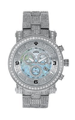 Aqua Master Herren s Power one row Diamant Uhr mit four link Full Diamond Armband 11 60 ctw