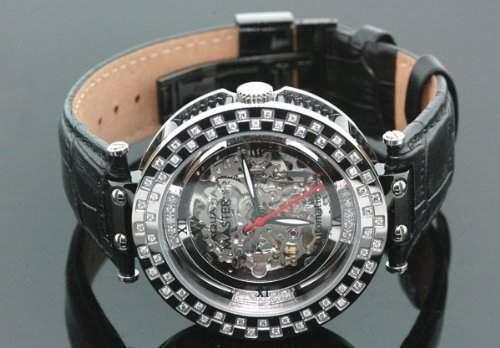 AQUA MASTER Herren-Armbanduhr Analog Automatik Leder Schwarz W314-B