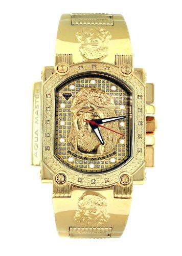 Aqua Master Herren Jesus Zifferblatt Spezial gold pvd Edelstahl Uhr Set mit 16 Diamanten W 323j