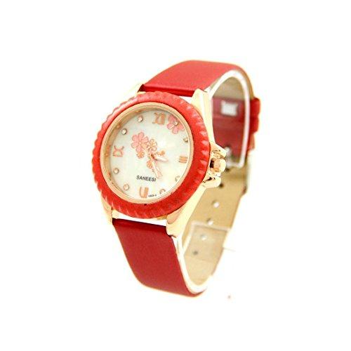Armbanduhr Damen fantaisis Leder bordeaux SANEESI 477