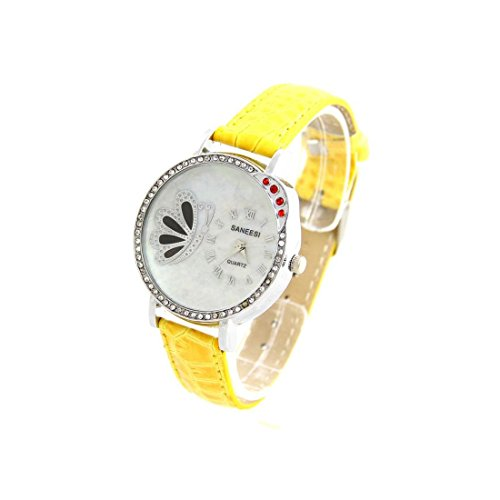 Damen Armbanduhr Leder gelb 1770