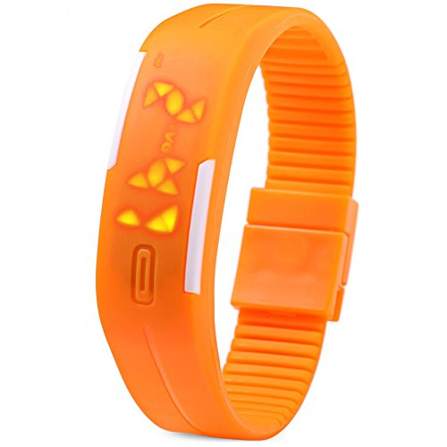 Leopard Shop TVG KM 520 A Unisex Sport Armbanduhr LED Display Kalender magnetisch orange