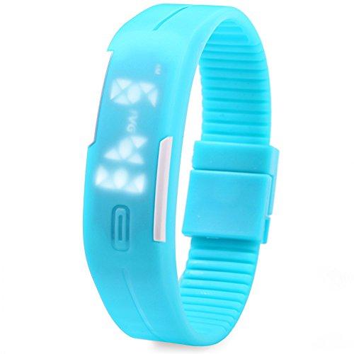 Leopard Shop TVG KM 520 A Unisex Sport Armbanduhr LED Display Kalender magnetisch blau