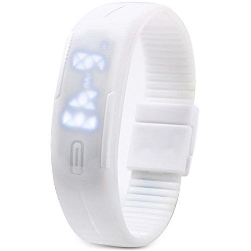 Leopard Shop TVG KM 520 A Unisex Sport Armbanduhr LED Display Kalender magnetisch weiss