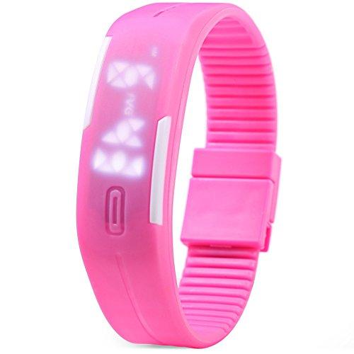 Leopard Shop TVG KM 520 A Unisex Sport Armbanduhr LED Display Kalender magnetisch pink