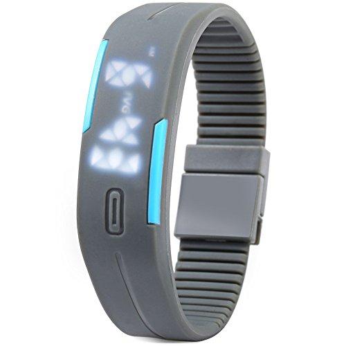 Leopard Shop TVG KM 520 A Unisex Sport Armbanduhr LED Display Kalender magnetisch grau