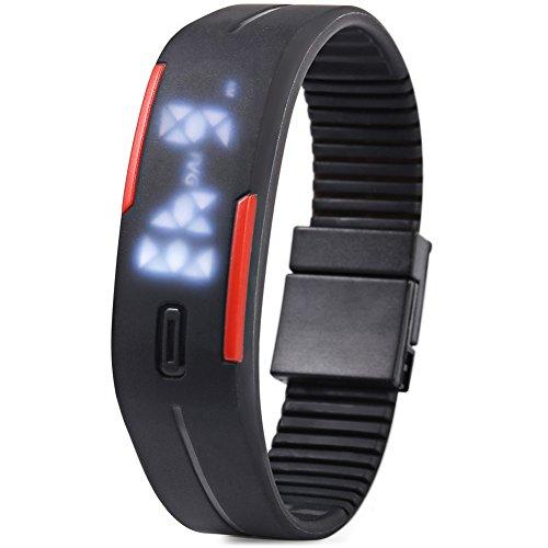 Leopard Shop TVG KM 520 A Unisex Sport Armbanduhr LED Display Kalender magnetisch schwarz