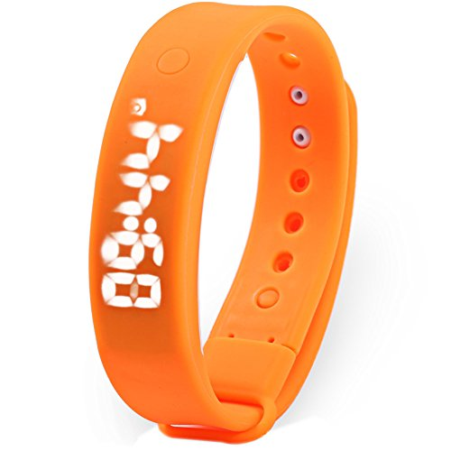 Leopard Shop TVG KM 133 Multifunktionale unisex Sport Armbanduhr LED Display Alarm Kalender Temperatur erkennen Magnetverschluss orange