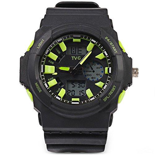 Leopard Shop TVG KM 391 Sport Armbanduhr Multifunktional Stecker Dual Movt Armbanduhr Kalender LED Display 3 ATM gruen