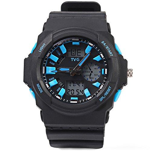 Leopard Shop TVG KM 391 Sport Armbanduhr Multifunktional Stecker Dual Movt Armbanduhr Kalender LED Display 3 ATM BLAU