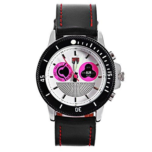 Leopard Shop TVG 469 Digital Quarz Sport Armbanduhr Doppel Movt Tag Alarm LED leuchtende Display Chronograph pink weiss