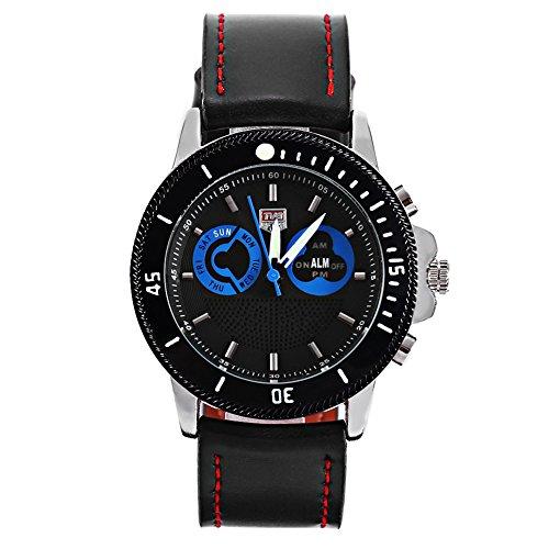 Leopard Shop TVG 469 Digital Quarz Sport Armbanduhr Doppel Movt Tag Alarm LED leuchtende Display Chronograph Blau Schwarz