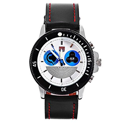 Leopard Shop TVG 469 Digital Quarz Sport Armbanduhr Doppel Movt Tag Alarm LED leuchtende Display Chronograph Blau Weiss