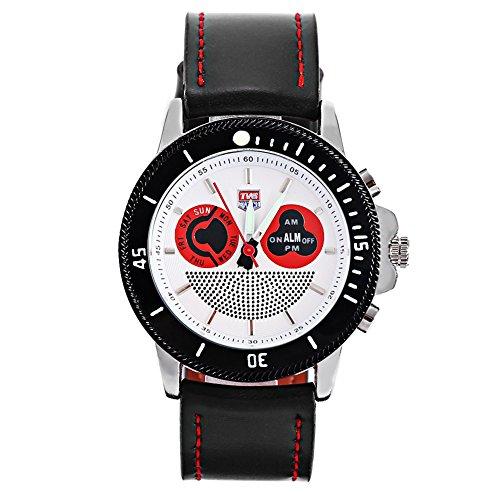 Leopard Shop TVG 469 Digital Quarz Sport Armbanduhr Doppel Movt Tag Alarm leuchtendes LED Display Chronograph Weiss Schwarz