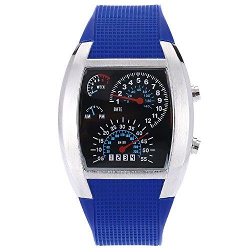 Leopard Shop TVG KM 482 Stecker Sport Armbanduhr Multifunktionsuhr Datum Tag LED Digital Wasser Widerstand blau