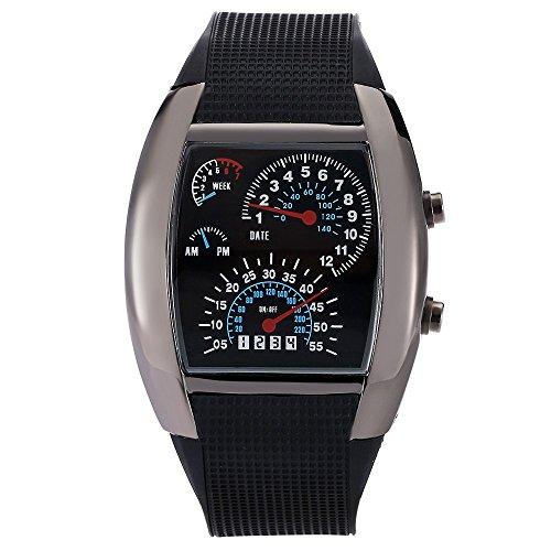 Leopard Shop TVG KM 482 Stecker Sport Armbanduhr Multifunktionsuhr Datum Tag LED Digital Wasser Widerstand schwarz
