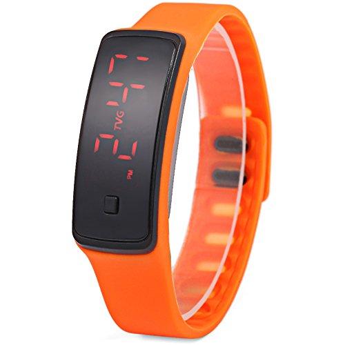 Leopard Shop TVG KM 550 Unisex Sport Armbanduhr LED Display Luminous Kalender Wasser Widerstand orange