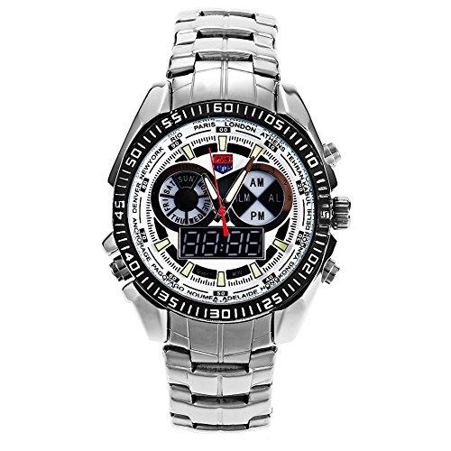 Leopard Shop TVG 568 Digital Quarz Double Movt Luminous LED Display Military Armbanduhr Tag Alarm Chronograph Weiss
