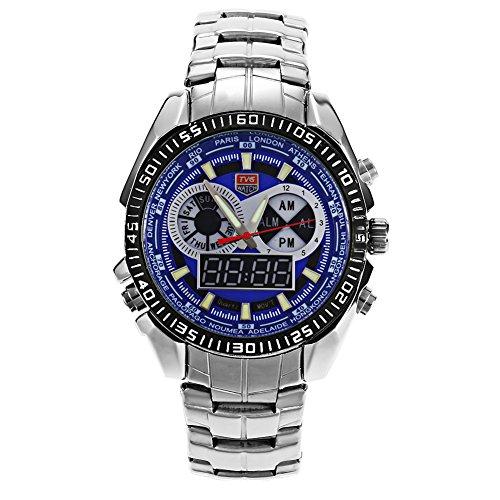 Leopard Shop TVG 568 Digital Quarz Double Movt Luminous LED Display Military Armbanduhr Tag Alarm Chronograph Blau