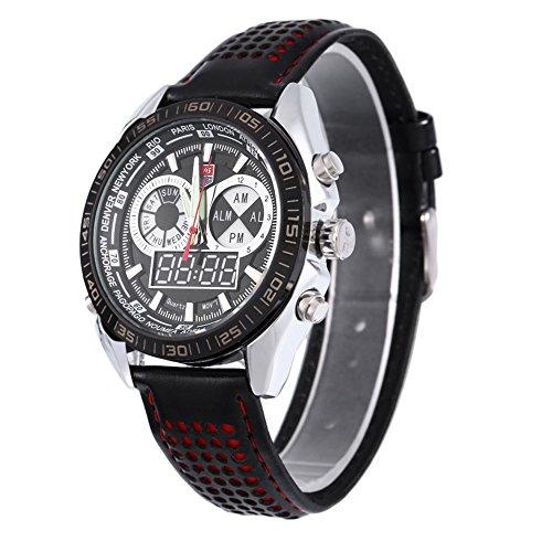 Leopard Shop TVG 568 Digital Military Armbanduhr Quarz Tag Alarm Leder Double Movt Band Luminous LED Display Chronograph Rot