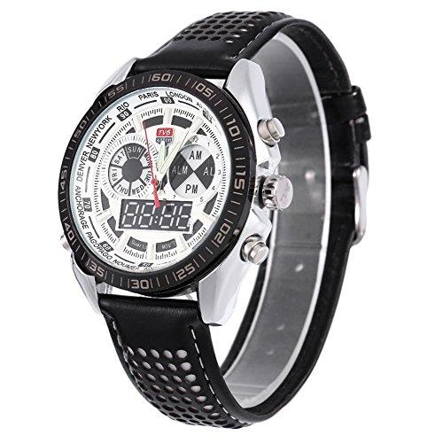 Leopard Shop TVG 568 Digital Military Armbanduhr Quarz Tag Alarm Leder Double Movt Band Luminous LED Display Chronograph Weiss