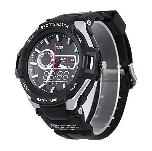 Leopard Shop TVG 801 Herren Dual Movt Quartz Wasser Widerstand Chronograph Luminous LED Display Armbanduhr Schwarz
