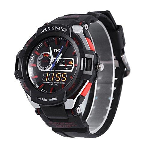Leopard Shop TVG 801 Herren Dual Movt Quartz Wasser Widerstand Chronograph Luminous LED Display Armbanduhr Rot