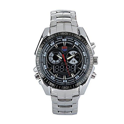 TVG Blaue LED Man Watch Sport Armbanduhr mit Analog Digital Anzeigen runden Zifferblatt und Edelstahl Uhr Band Gift Box